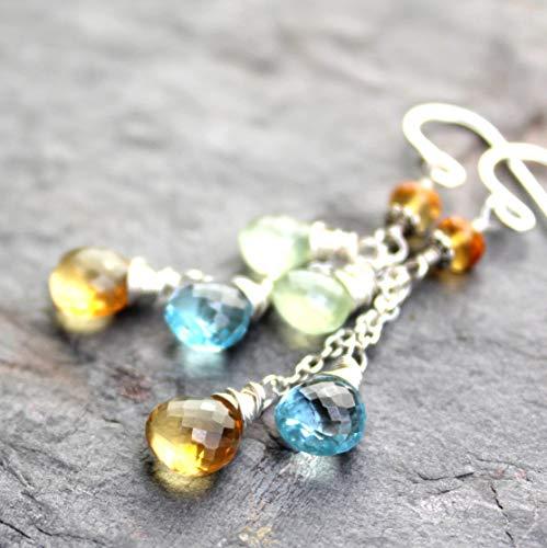 (Multi Gemstone Earrings Citrine Blue Topaz Prehnite Cascade Sterling Silver Dangles Semi Precious)