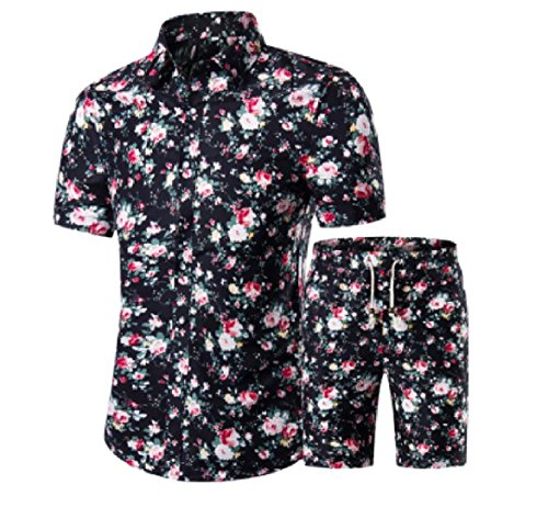 (Abetteric Mens Short-Sleeved Floral 2 Piece Half Length Plus Size Tracksuit Set 10 4XL)