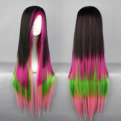 SMILE Popular Style 80cm Long Multi Color Straight Anime Cosplay Costume Wig