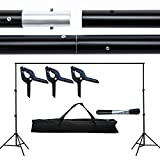 SUNCOO Photo Studio 10 Ft Photography background System Stand Support Crossbar Kit with Carry Bag Photography Studio.