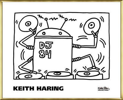 ポスター キース ヘリング DJ 84 1983 額装品 アルミ製ベーシックフレーム(ゴールド) B072MTS7PJゴールド