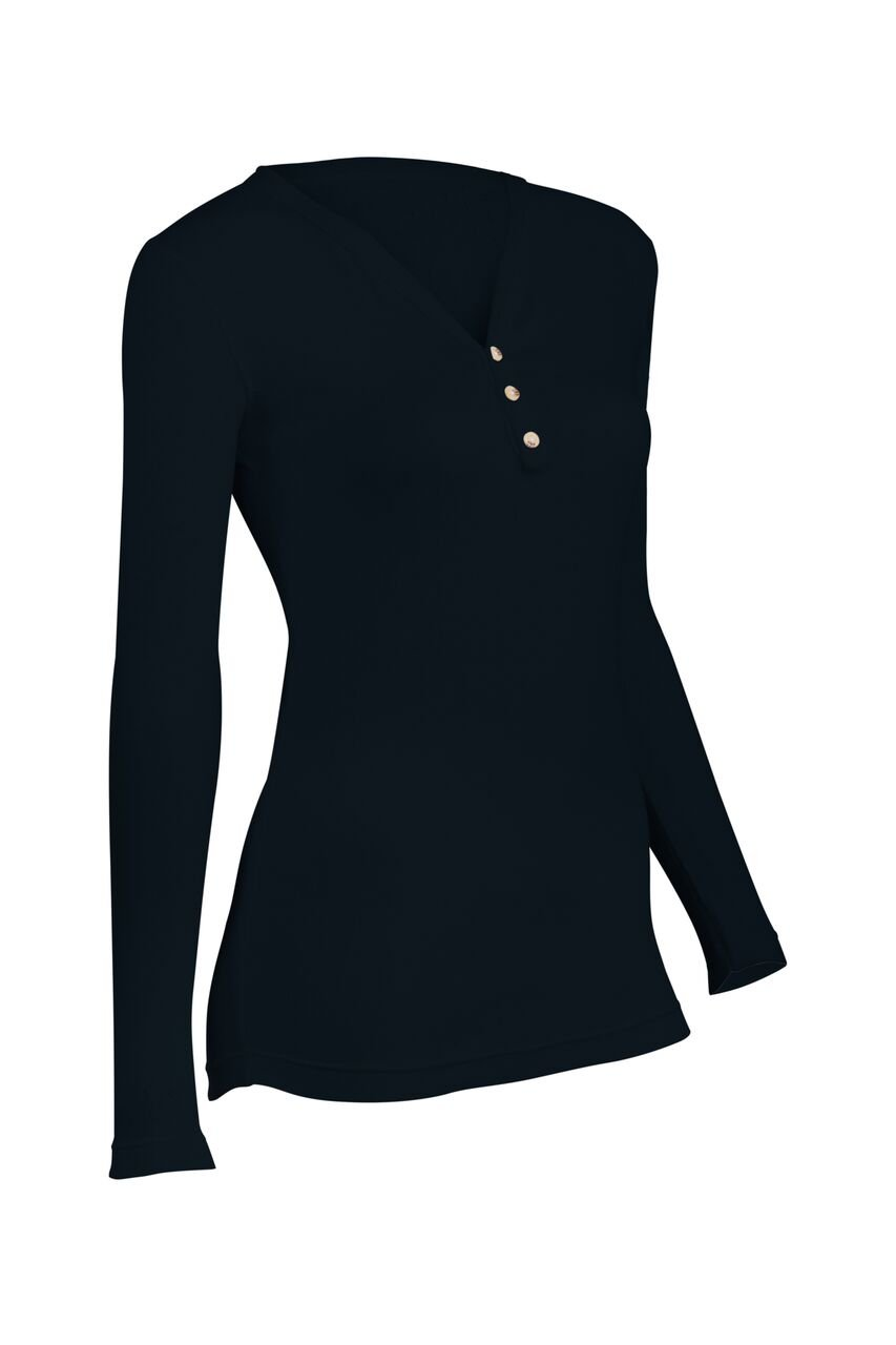 Indera 180PS2XBK Women's Pointelle Henley Top, Black, XX-Large