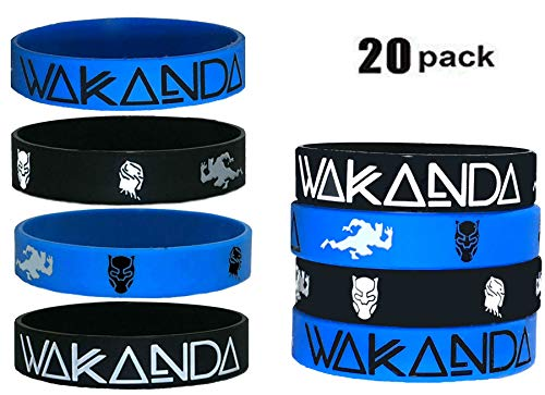 20 pcs Wakanda Party Favors Wristband/Size Adult and Kids. (Black Panther, Kids) ()