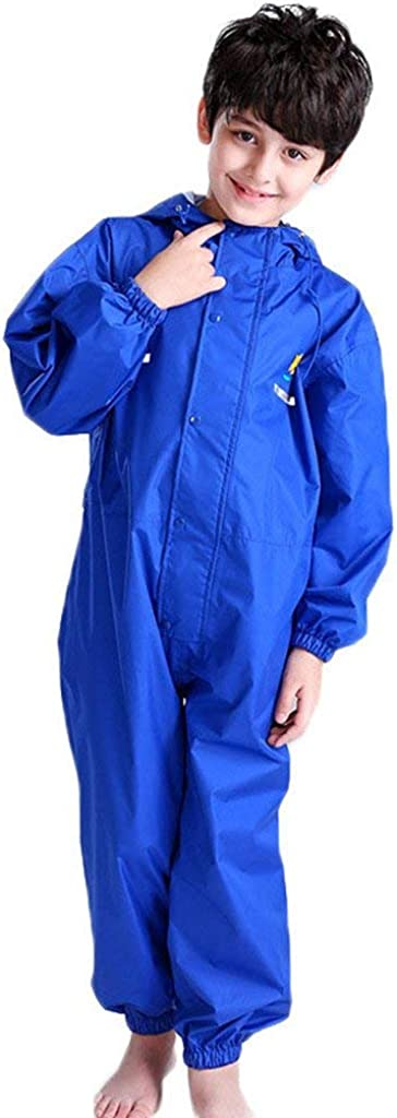 Baby Boys Girls One Piece Hooded Raincoat Kids Rain Suit Waterproof Coverall Jumpsuit Rainsuit 2-14 Years