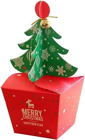 VVVVANKER VANKER 10pcs Árbol de Navidad Rojo y Verde Campana Apple Portador Caja Papel Papel Cajas de Regalo Decoración Fiesta Navidad Cajas Navideñas: Amazon.es: Hogar