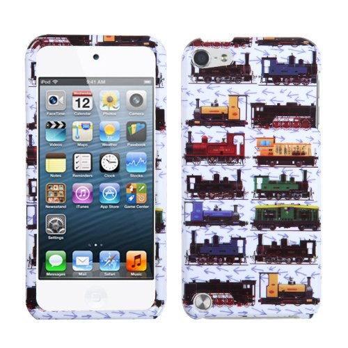 Asmyna Retro Trains/White Protector Cover for iPod touch 5