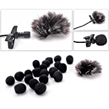 ZRAMO Metal Clip Small Lapel/Lavalier Microphone Tie Clip for Clip-on Omnidirectional Condenser Microphone for Apple Iphone, Ipad, Ipod Touch, Samsung Android (fuzzy windscreen)