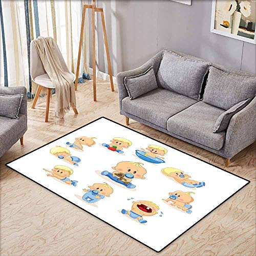 Pet Rug,Baby,Baby Boy Crying Walking Playing with Toys Sleeping Goofy Infant Person Happy,with No-Slip Backing,5'3
