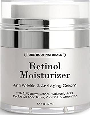 Retinol Cream Moisturizer for Face with active hyaluronic acid shea butter - Anti-aging & Anti-wrinkle Cream - night and day moisturizing facial cream 1.7 fl. oz by Pure Body Naturals