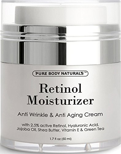 [Pure Body Naturals Anti-Aging 2.5% Retinol Moisturizer for Face with Hyaluronic Acid, Shea Butter, Vitamin E and Green Tea, 1.7 Ounce] (Line Smoothing Liquid Makeup Foundation)