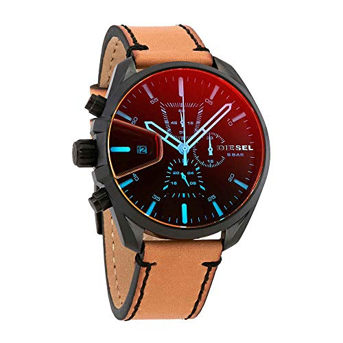 Diesel Mens Brown Leather - Diesel Men's Ms9 Chrono Stainless Steel Quartz Watch with Leather Calfskin Strap, Brown, 21 (Model: DZ4471)