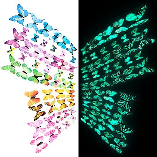 Stikers Mariposas 3d luminosas  autoadhesivas p/decoración