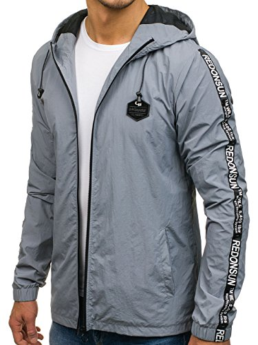 Zip Men's BOLF Ribbed Outdoor 4D4 Casual Mix Transitional hy197 Military Hood Sport Jacket Plain Grey XHHRFx