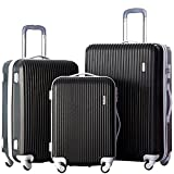 Merax 3 Piece Luggage Set Suitcase Spinner Hardshell Lightweight (Black.)