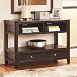 Ashley Furniture Signature Design - Carlyle Console Sofa Table - 2 Drawers and 2 Cubbies - Contemporary - Almost Black