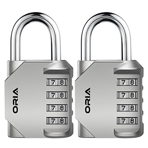 ORIA Combination Lock, 4 Digit Combination Padlock for School, Employee, Gym and Sports Locker, Case, Toolbox, Fence, Hasp Cabinet and Storage, Silver and 2 Pack
