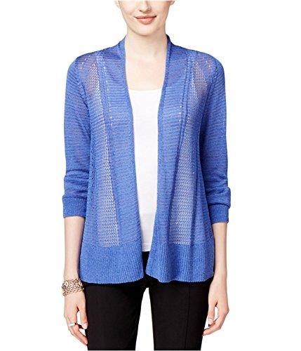 Alfani Womens Knit Long Sleeves Cardigan Sweater Blue M