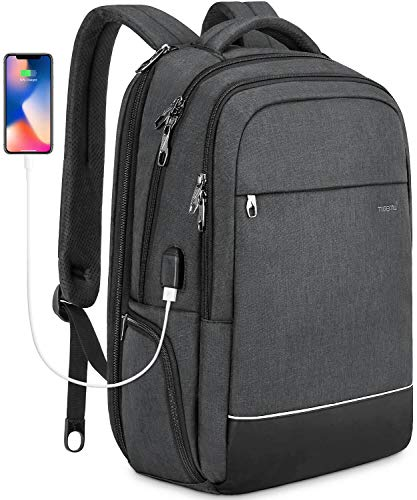(KUPRINE Business Anti Theft Travel Durable Laptop Backpack 15.6 Inch Computer Backpack for Men Women with USB Charging Port, Water Resistant School Backpacks Fits Under 17 Inch Laptop & Notebook)