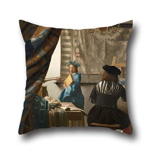 Oil Painting Jan Vermeer - The Art Of Painting Pillowcase 18 X 18 Inches / 45 By 45 Cm For Home Office,bar,living Room,club,wedding,home With Double Sides (Glider Indoor Double Rocker)