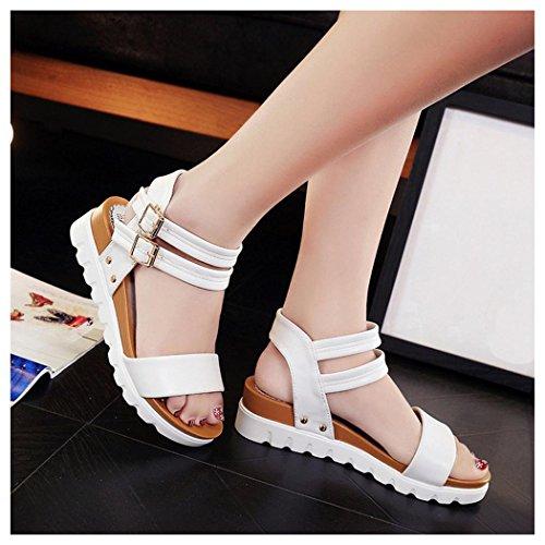 Sommar Sandaler, Inkach Mode Kvinnor Enkla Sandaler Casual Läder Platta Sandaler Vita
