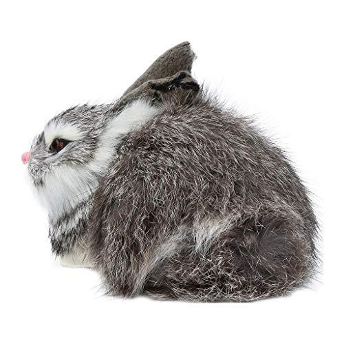Fan-Ling Simulation Mini Rabbit Animal Model Figure Hare Figurine Home Decor Miniature,Garden Yard Outdoor Indoor Art Crafts Decor,Cute Craft Decorative Ornaments for Home Table DecorationU (Gray) (Bunny Can Can)