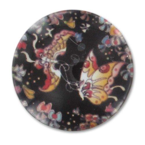 Perles & Co Cabuchón plano decorado 20 mm Mariposas x1