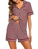 Ekouaer Women's Pajamas Short Sleeve Sleepwear Loungewear Soft PJ Set with Shorts (Wine Red Striped XL)