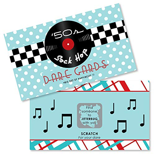 Big Dot of Happiness 50's Sock Hop - 1950s Rock N Roll Party Game Scratch Off Dare Cards - 22 Count ()