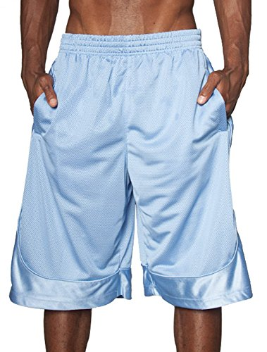 Heavyweight Hat - Hat and Beyond Mens Heavyweight Mesh Shorts Athletic Fitness Gym Sports Workout S-5XL (Small, 1ks14_Sky Blue)