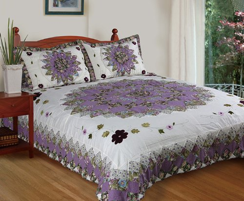 [Pansy's Field] 100% Cotton 3PC Hand-Appliqued Quilt Set (King Size)