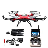 RC Helicopter With Camera - LANDVO JJRC H8D FPV Headless Mode 6-Axis 2.4Ghz Gyro RTF RC Quadcopter Helicopter Drone with 5.8G 2MP HD Camera EU Plug with US Adapter Red Designed with LANDVO Logo