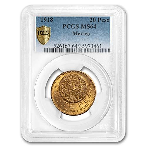 1918 MX Mexico Gold 20 Peso MS-64 PCGS Gold MS-64 PCGS