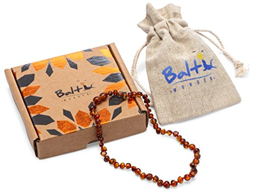 Baltic Amber Teething Necklace For Babies (Unisex) (Cognac) - Anti Flammatory, Drooling & Teething Pain Reduce Properties - Natural Certificated Oval Baltic Jewelry with the Highest Quality Guaranteed by Baltic Wonder (Image #3)