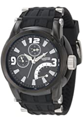 Lancaster Men's OLA0551BK-NR-SL-NR Black Dial Black Silicone Watch
