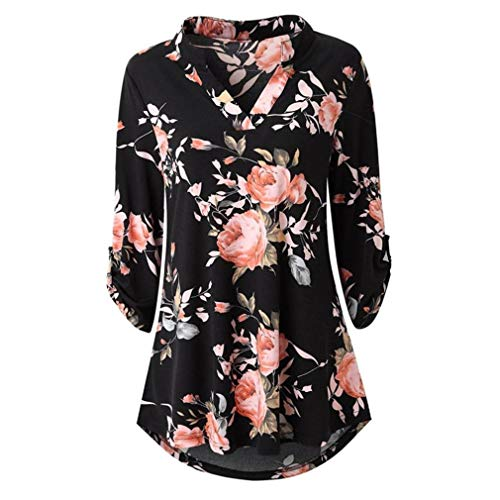KIKOY Womens V-Neck 3/4 Sleeve Vintage Floral Print Casual Soft Long Tunic Tops