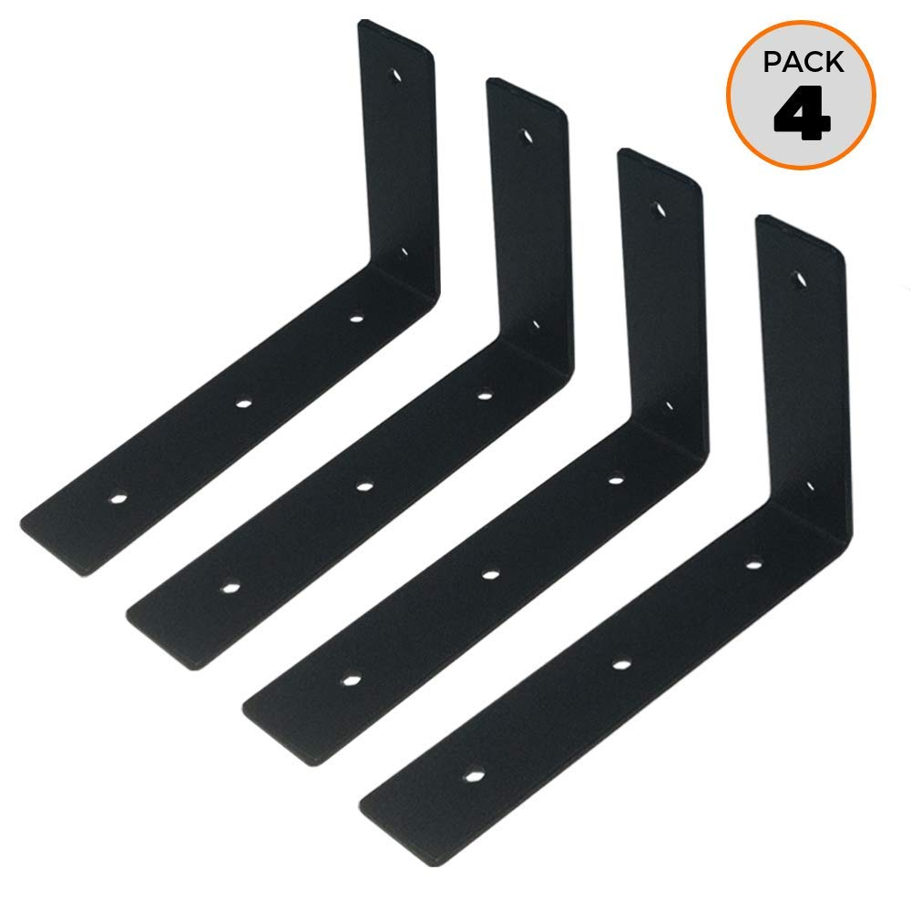 A10SHOP Apollo Basics Heavy Duty L Shaped Wall Shelf Angle Brackets (6x4 Inch, Black) - Set of 4