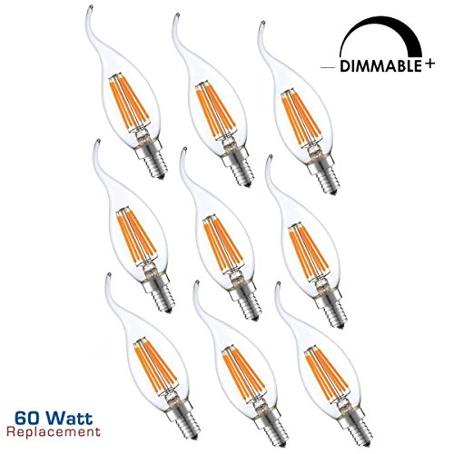 AMZSTAR Dimmable Antique LED Light Bulbs ,C35 LED Filament Candelabra Light Bulb, E14 Base,2700K Warm White,60W Incandescent Energy Efficiency Rating(Pack of 9)
