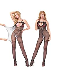 YQWEL Sexy Fishnet Open Crotch Corest Bodystocking Bodysuit Tights Lingerie