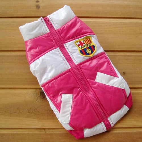 PINK & WHITE Colored Dog Jacket Polyester Cotton Royal Soccer Seal Patch-Size ()