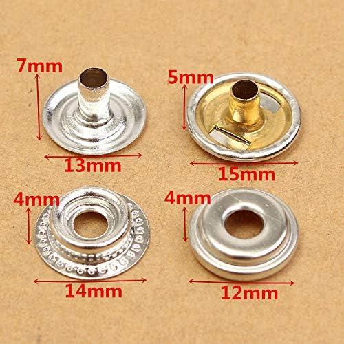 TOOLOOK 25 Sets Edelstahl Verschluss Druckknopf Druckknopf Marine Set 100 St/ück