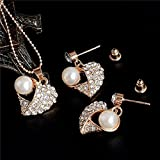 Sumanee Imitate Pearls Crystal Pendant Heart Pendant Jewelry Sets Earrings Necklace