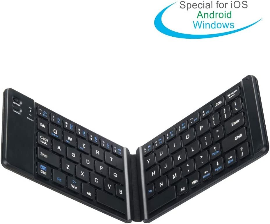 EVACH Bluetooth Folding Keyboard Foldable Bluetooth Keyboard Rechargable Full Size Foldable Keyboard Compatible con iOS iPhone Android Smartphone Tables Windows Laptop, Black