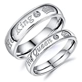 Rinspyre 6MM Stainless Steel Crown Couple Rings Set Her King His Queen Silver Tone Wedding Bands Size 11