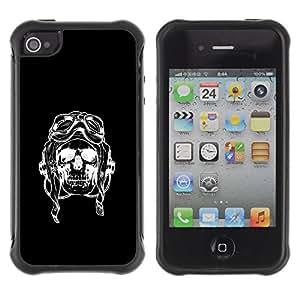 Be-Star único patrón Impacto Shock - Absorción y Anti-Arañazos Funda Carcasa Case Bumper Para Apple iPhone 4 / iPhone 4S ( Pilot Black Riding Bike Skull Death )