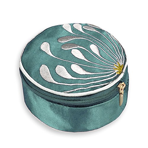 Blossom Jewelry Case - Travel Jewelry Case - Embroidered Chrysanthemum (Seafoam)