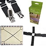 FlyingP Sheet Bed Suspenders Bed Bands Crisscross Adjustable Bed Fitted Sheet Straps Suspenders Grippers Clippers Bed Holder Elastic Sheet Strap Fasteners Mattress Pad Duvet Cover HEAVY DUTY