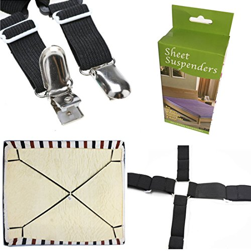 FlyingP Sheet Bed Suspenders Bed Bands Crisscross Adjustable Bed Fitted Sheet Straps Suspenders Grippers Clippers Bed Holder Elastic Sheet Strap Fasteners Mattress Pad Duvet Cover HEAVY DUTY by FlyingP