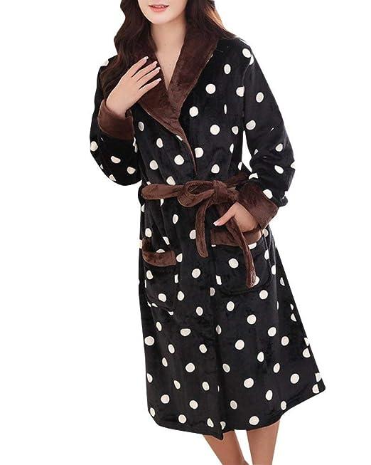 Mujer Camisones Cómodo Albornoz Invierno Largos Otoño Mode De Marca Batas Manga Larga V-Cuello con Bolsillos Cinturón Kimono Pijamas Mujer: Amazon.es: Ropa ...