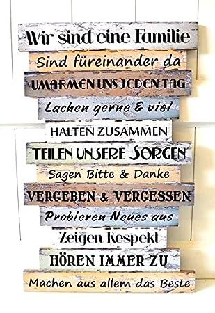 Schild Holz Nostalgie Familie Familienregeln Deko Bild Küche Vintage Shabby Spruch Ca33 X 51cm