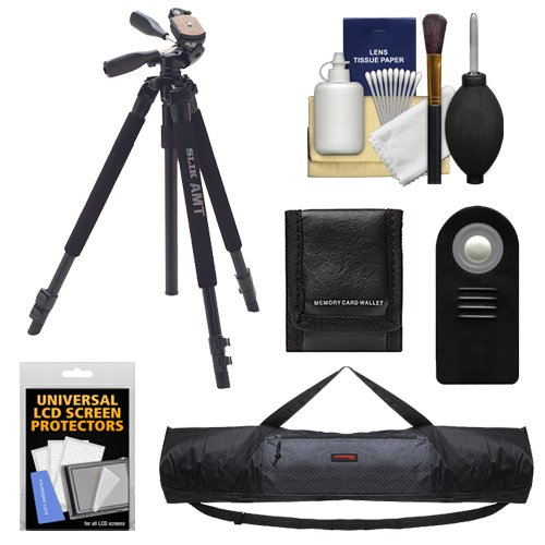 Slik 330 DX Pro Series Black Tripod 3Way Pan/Tilt Head & Quick Release with Tripod Case + RC-6 Remote + Kit for Rebel SL1, T5i, T6i, T6s, T7i, EOS 70D, 77D, 80D, 6D, 7D, 5D Mark III, IV